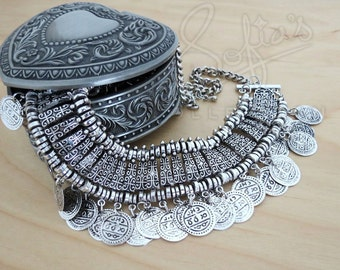 Antique Silver/ Antique Gold Gypsy Coin Bohemian Cleopatra Statement Necklace