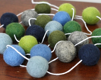 Blue and Green Baby Shower Garland, Felt Ball Garland, Birthday Party Pom Pom Garland, Felt Garland, Banner, Party Decor