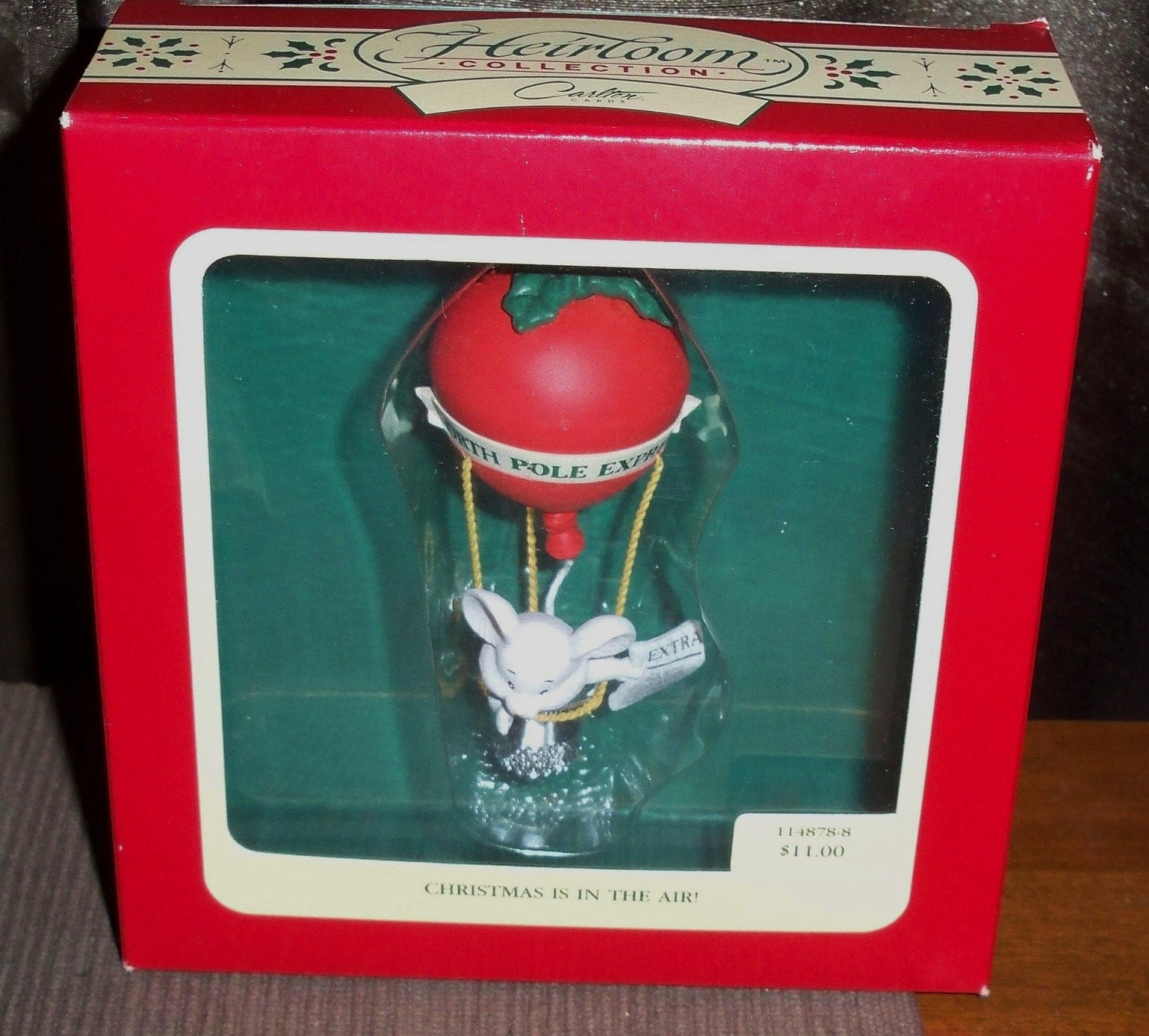 1991 Carlton Cards Christmas In The Air Ornament in Box