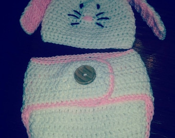 Crocheted newborn bunny outfit