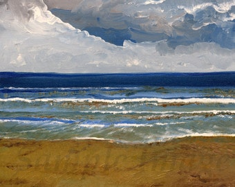 Wave after Wave. Giclee Print of Original Oil Painting by English Artist Claire Strickland
