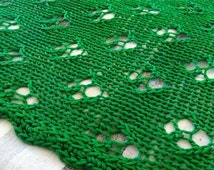 Hand Knitted Lace Baby Blanket In India Green Color / 100 pct. Mercerized Cotton Yarn