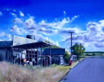"Rural abandoned gas station painting, original landscape painting, rural america artwork, cloud painting, rustic building, 24""x36"""