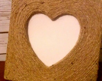 Natural Rope Photo Frame, Heart Shaped