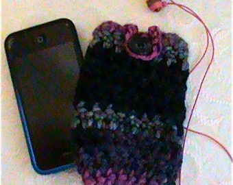 Cell Phone Case I-Phone Cozy  Crochet Button Gadget Cover Cellular iPhone Crochet Case Cozy with Button Smartphone Sleeve Button Closure