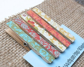 """Boho Clothespin Magnets / Magnet Clips in """"Vintage Bohemian"""" /  Decorative Magnets / Shabby Magnet Set"""