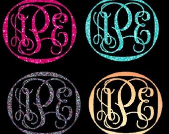 Framed Glitter vine font monogrammed heat transfer iron on, custom iron on, glitter initials, personalized monogram