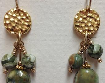 Multi-drop, Rhyolite earrings