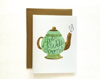 Get Well Soon Card. Teapot Card. 1pc