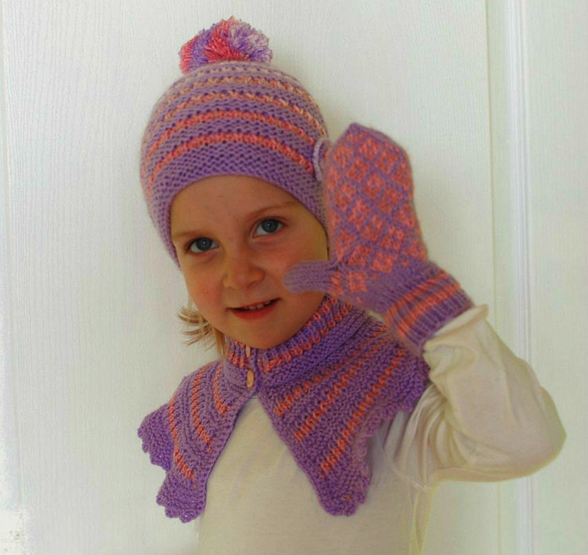Knitting Patterns Childrens Hats Mittens : Knitting children set: hat neck warmers scarf and mittens