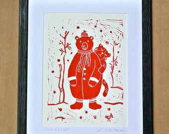 Bear & Cat Linocut – an Original Hand Pulled Print