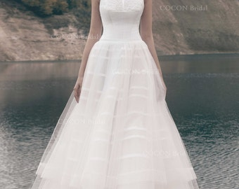 "Designer Ball gown Delicate Layered Tulle Wedding Gown with lace Modern wedding dress - ""Taiti"""