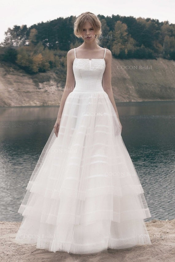 Designer Ball Gown Delicate Layered Tulle Wedding Gown With