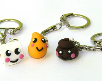 Best friend charms bff friendship necklace 3 way necklace Kawaii wee pee poo poop toilet paper bag charm