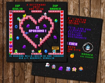 Participation in wedding style video game bubble bobble