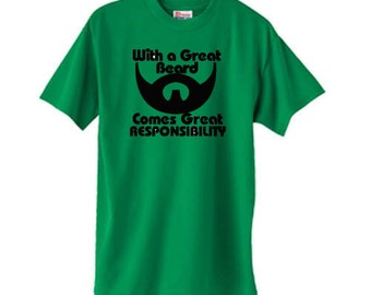 With A Great Beard Comes Great Responsibility T Shirt Mens  Father T-Shirt Husband Anniversary Dad