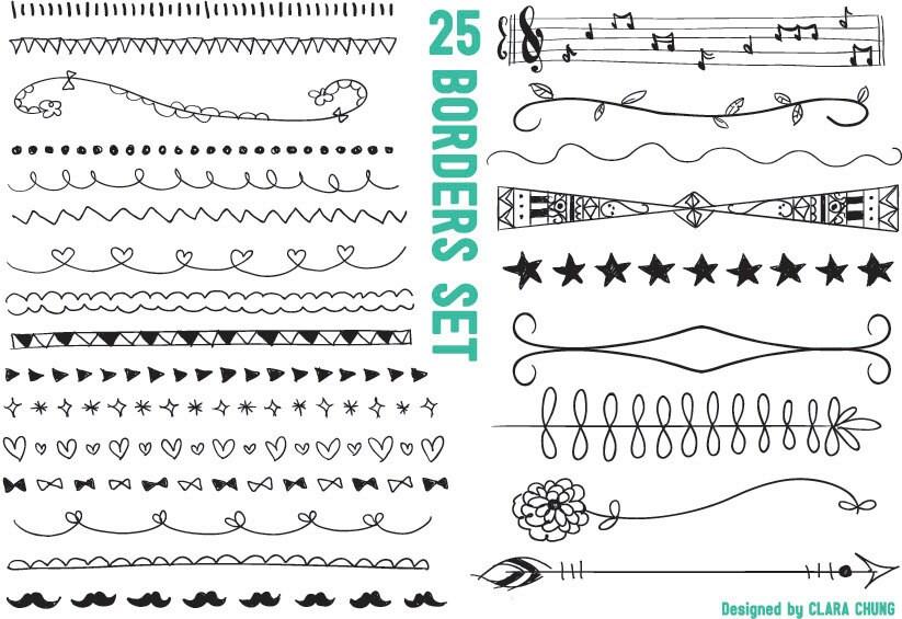 Digital vector hand-drawn borders clip art 300dpi transparent