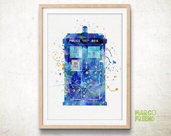 TARDIS, Doctor Who - Watercolor, Art Print, Home Wall decor, Watercolor Print, Doctor Who Poster