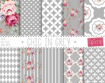 "Shabby chic digital paper : ""Chic in Grey"" floral digital paper with shabby roses on grey, silver background, decoupage paper, roses"