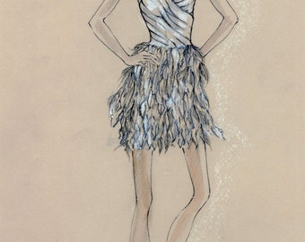 Illustration of a short wedding dress (Original)