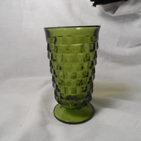 Glass-Tall Green Glass-Indiana Glass Cubed Green Tumbler