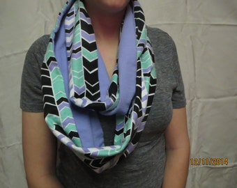 Lavender, Black, and Mint Green Chevron Infinity Scarf