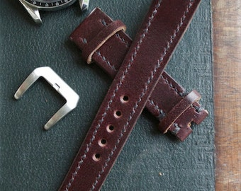 Horween #8 burgundy Chromexcel leather hand stitched watch strap band 18mm 19mm 20mm 21mm 22mm Handmade Also for apple watch