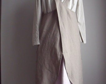 Taupe Linen and Cotton Mix X-Back Pinafore Apron
