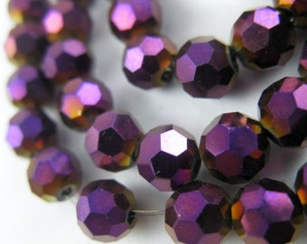 Beads/Celestial/ Crystal/Glass/32-Facet/Metallic Purple/6mm/Large Hole/Faceted/Round/10 Beads Per Order