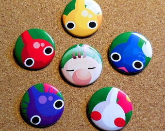 Pikmin Button Set - Captain Olimar, Red/Blue/Yellow/Purple/White Pikmin