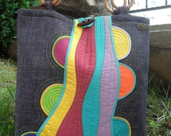 Art patchwork bag.Unique bag.Large over the shoulder bag.Colorful bag.Tote bag.everyday bag.Weekender bag.Women bag.