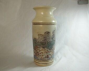 Handcarved Landscape Porcelain Ceramic Vase