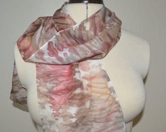 Driftwood Ripple Scarf – Hand painted 100% Habotai silk scarf