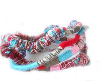 SKY Fiber Wraps / Textile Necklace / Wearable Art / Colorful Multistrand Bracelet  / Multicolor  Bohemian Necklace / Urban fiber wraps