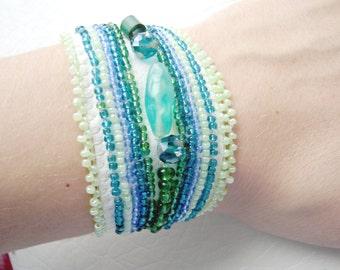 Green bracelet, Embroidered Bracelet, Unique Bracelet, Chunky Bracelet, Green Beads, Leather Bracelet, Women Jewelry, Bead work bracelet