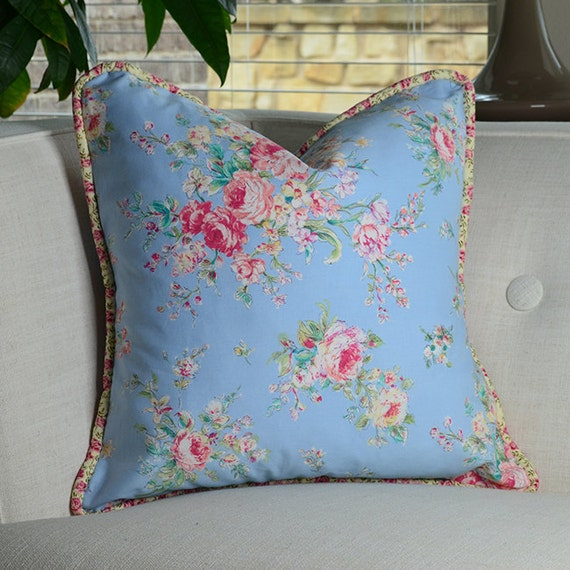 Shabby Chic Decorative Pillows : Items similar to Shabby Chic - Cottage Decorative Pillow cover with Piping , Floral pillow cover ...