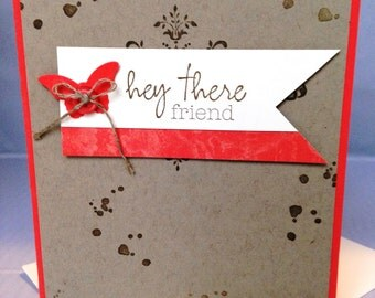 Stampin Up Handmade Greeting Card, Hey There, Friend Card