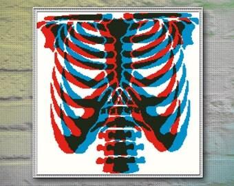 Skeleton Cross Stitch Pattern INSTANT DOWNLOAD