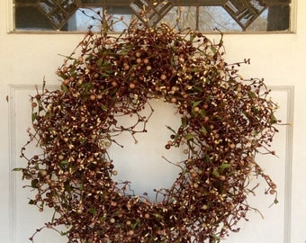 Lavendar Spring Wreath -Grapevine Wreath- Pip Berry Wreath with Leaves-Berry Centerpiece-Free Shipping!