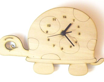 "Wooden wall clock - ""Baby Turtle"""