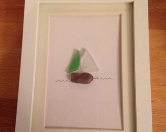 boat sea glass art
