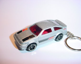 3D Toyota AE-86 Corolla custom keychain by Brian Thornton keyring key chain finished in silver and black color trim