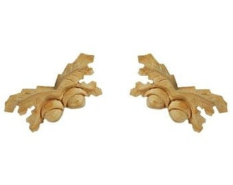 A Small Matched Pair of Oak Leaves and Acorns made from pine wood.