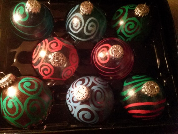 Zentangle Inspired Stain Glass Painted Colored Glass Christmas Ornaments With Unique Spiral  Design