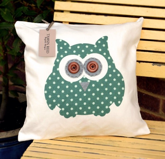 "HALF PRICE! Owl Cushion - Green Polka Dot, Tartan, Pink Polka Dot, Floral  ""The Owls of Hoot"" Collection, Tamsin Reed Designs"