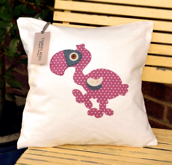"HALF PRICE!Dodo Cushion - Pink polka, green polka, blue collage, floral, ""The Last of the Dodos"" Collection, Tamsin Reed Designs"