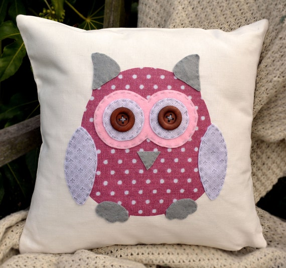 "Owl Cushion - Pink, grey, fleur de lys, ""The Owls of Hoot"" Collection, Tamsin Reed Designs"