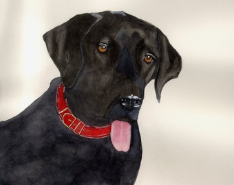 BLACK LAB Watercolor print by Robert Martin 10 3/8 X 13 7/8 inches