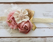 Dusty Rose Gold and cream Headband photography prop  pink gold headband blush pink gold and cream headband dusty rose and gold headband