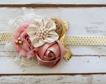 Dusty Rose Gold and cream Headband photography prop  pink gold headband blush pink gold and cream headband dusty rose and gold headband